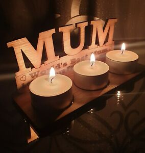 Personalised Mum Tea Light  Candle Holder Mother's Day Birthday Gift