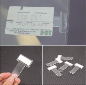 Car Vehicle Parking Ticket Permit Card Ticket Holder Clip Sticker Gadget 2Pc