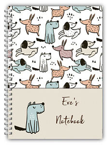 A5 PERSONALISED NOTEBOOK, NOTE BOOK, NOTES, 50 LINED OR BLANK, WOOF DOG 01