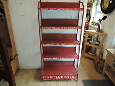 FRENCH ANTIQUE LOOK RUSTIC METAL STAND WITH FOLDING STORAGE SHELVES