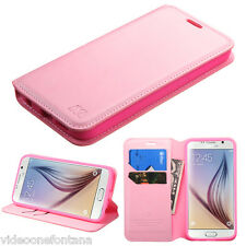 For Samsung GALAXY S6 Flip Leather Pouch Wallet Case Phone Cover Stand PINK