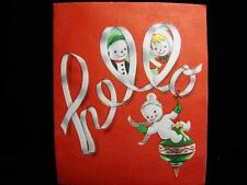 "VINTAGE ""SNOWMAN FAMILY HELLO!!"" CHRISTMAS GREETING CARD"