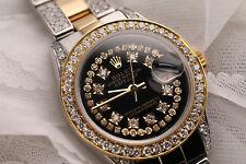 Ladies 26mm Rolex Oyster Perpetual Datejust Custom Black String Diamonds Dial