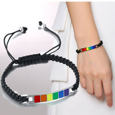 Rainbow Lesbian LGBT Pride Gay Woven Braided Rope Black Bracelet Jewelry Gift