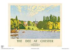 Chester Cheshire Dee ferrocarril de estilo vintage y retro Publicidad Cartel Viaje Arte
