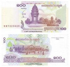 Cambogia 100 riels 2001 UNC banconote P-53
