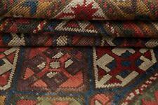 Pre-1900 Antique Tribal Vegetable Dye Kazak Caucasian Runner Rug Wool Carpet 4x8