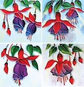 YH ARTS Fuchsias 4x Ceramic Wall Art Coasters Plaque Tile Picture Gift Flowers