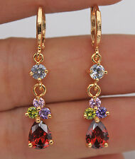 18K Yellow Gold Filled - 1.5'' Ruby Waterdrop Amethyst Topaz Women Drop Earrings