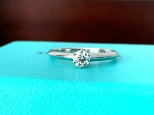 Tiffany & Co Platinum and Diamond Round Engagement Ring .26 ct F VS1 $2k