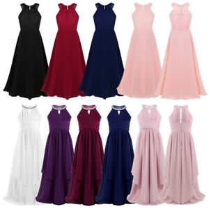 Flower Girl Princess Dress Party Wedding Bridesmaid Pageant Gown Long Dresses
