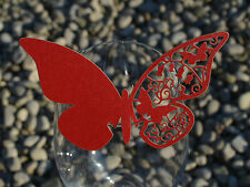 100x farfalle Segnaposto Segnabicchiere ROSSO PERLATA matrimonio decorazione