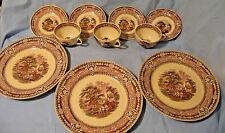 "Victorian Purple Mulberry WOODLAND 3 Tea Cups, 4 Saucers & 3- 10"" Dinner Plates"