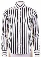 RALPH LAUREN Womens Shirt US 4 Small Black Striped Cotton  IS11