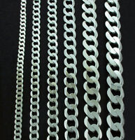 STERLING SILVER CURB CHAIN BRACELET FLAT LINK NECKLACE LADIES GENTS GIFT BOX 925
