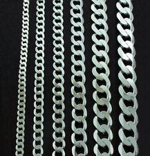 Cadena en Plata de Ley Pulsera Plano Enlace Collar Mujer Hombre Caja Regalo 925