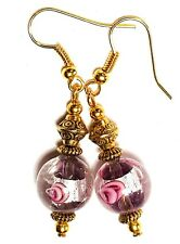 GOLD PURPLE PINK EARRINGS short drop dangle chic unique gypsy chic prom style