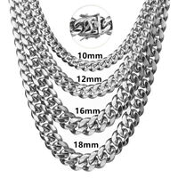 Fashion Silver Stainless Steel Miami Cuban Curb Chain Necklace Or Bracelet 7-40""