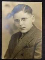 Vintage BLACK & WHITE 10 x 7 PHOTO Young Man w/ Octagonal Wire Glasses
