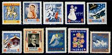 NORWAY . 1940-49 Christmas Seals (10 Seals) . Never Never Hinged