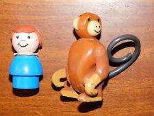 vintage 2 FIGURINE Fisher Price Circus Train PARTS SINGE monkey JOUET ANCIEN toy