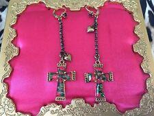 Betsey Johnson Vintage Floral Rose Heart Lucite Cross Purple Crystal Earrings