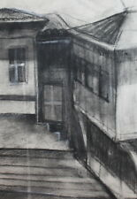 VINTAGE CHARCOAL DRAWING OLD HOUSE