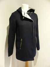 Mint Velvet  navy wool hooded duffle coat jacket UK 8 VGC