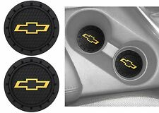 (2) Plasticolor 000648R01 Chevy Bowtie Gold Cup Holder Coaster New Free Shipping