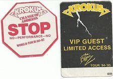 Krokus Backstage Pass Lot Of 1984-1987 The Blitz