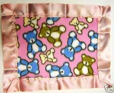 HANDMADE BABY MINI FLEECE SECURITY BLANKET - PINK TEDDY BEARS 12 X 15