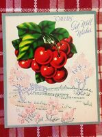 Vintage 1940s UNUSED Greeting Card Cherry Die-Cut Red Cherries Cross Stitch NOS