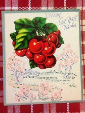 Vintage 1940s Unused Greeting Card Cherry Die-Cut Red Cherries & Cross Stitch