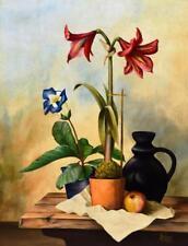 Unbekannt signiert (Beyer) / Gemälde 1947 / Stillleben mit Amaryllis neusachlich