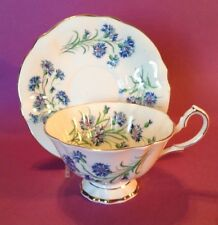Princess Anne Tea Cup And Saucer - Bachelor Buttons - White And Blue - England