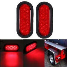 "2pcs 6"" Red Oval 22-LED Stop/Turn Signal/Brake/Marker/Tail 12V Lights for Truck"