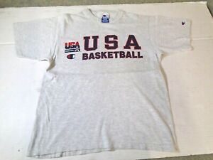 VTG Champion Team USA Olympic Basketball Spell Out T Shirt M