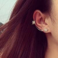 Lady Jewelry Asymmetric Crystal Snowflake Ear Clip Stud Earrings Jewelry  UK