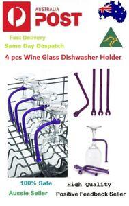 4Pcs Wine Glass Dishwasher Holder Adjust Silicone Goblet Rack Stemware Saver