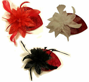 Vintage 40s50s Hat Red Velvet Teardrop Hat Feather fascinator Red/OffWhite/Black