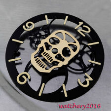 New 38.9mm gold hollow Skull Black Dial for eta 6497 ST 3600 movement watch dial
