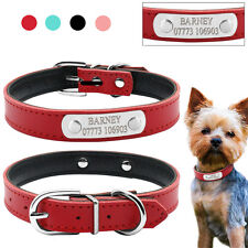 Leather Personalised Dog Collars Custom Cat Pet Name ID Collar Free Engraving