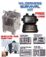 Large Survival Multitool Card Set Axe Hunting Fishing First Aid Escape Stove Kit