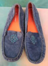 Hush Puppies Blue Beaded Suede Leather Slip-on Loafers Mocs Wms 8.5M