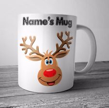 Personalised Mug / Cup - Rudolph - Christmas Gift / Secret Santa  - Any NAME