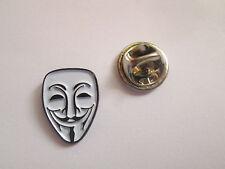 Maschera anonima in metallo e smalto bavero pin badge-L037