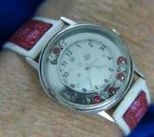 CHRISTMAS SNOWFLAKE FLOATING RED WHITE RHINESTONES SILVER TONE WATCH WORKS