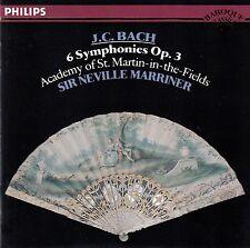 JOHANN CHRISTIAN BACH: 6 SYMPHONIES OP. 3 - MARRINER / CD (PHILIPS 422 498-2)