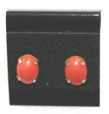 Naturally Red Coral Earrings - 14k Stud Type Settings - Silicone Friction Backs