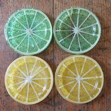 Mid Century Modern Resin/Plastic Retro Lemon / Lime Slice Coasters